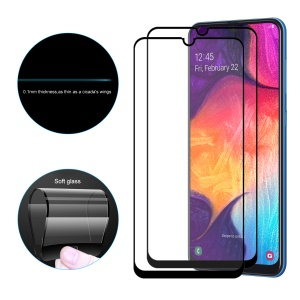 2PCS HAT PRINCE 0.1mm Full Coverage Soft Glass Screen Protector Full Glue for Samsung Galaxy A20/A30/A50/M30