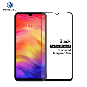 PINWUYO 3D Curved Full Size Tempered Glass Screen Film for Xiaomi Redmi Note 7 / Note 7 Pro (India)