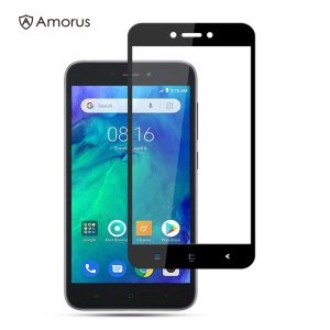 AMORUS Full Glue Silk Printing Tempered Glass Full Screen Protector for Xiaomi Redmi Go