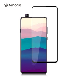 AMORUS Full Glue Silk Printing Tempered Glass Full Screen Protective Film for Samsung Galaxy A90
