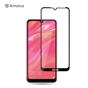 AMORUS Full Glue Silk Printing Tempered Glass Full Screen Protector Guard for Huawei Y7 (2019)