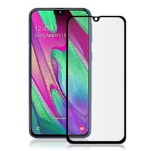 AMORUS Full Glue Silk Printing Tempered Glass Full Screen Protector for Samsung Galaxy A40