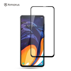 AMORUS Full Glue Silk Printing Tempered Glass Full Screen Protector for Samsung Galaxy A60