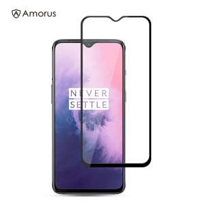 AMORUS Full Glue Silk Printing Tempered Glass Full Screen Protector for OnePlus 7