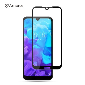 AMORUS Full Glue Silk Printing Tempered Glass Full Screen Protector for Huawei Y5 (2019) / Honor 8S