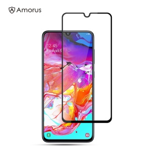 AMORUS Full Glue Silk Printing Tempered Glass Full Screen Protector for Samsung Galaxy A70