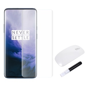 RURIHAI 3D Full Glue UV Liquid Tempered Glass Screen Protector + UV Lamp for OnePlus 7 Pro / 7T Pro