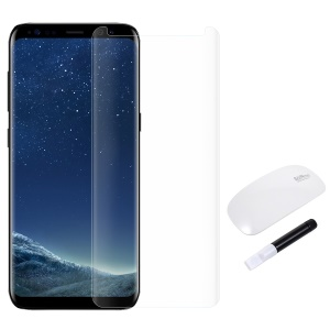 RURIHAI 3D Full Glue Complete Covering UV Liquid Tempered Glass Screen Film + UV Lamp for Samsung Galaxy S8 - Transparent