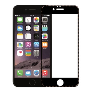 Electroplating Tempered Glass Screen Protector Arc Edges for iPhone 6 Plus/6s Plus 5.5-inch - Black/Brown