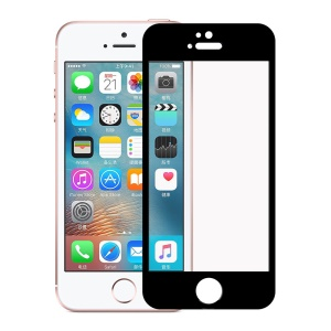 0.3mm Silk Print Tempered Glass Screen Protector for iPhone SE/5s/5 - Black