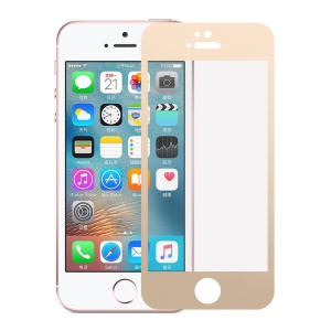 Silk Print Tempered Glass Screen Protection Film 0.3mm for iPhone SE/5s/5 - Gold
