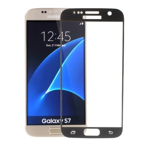Silk Print Full Size Tempered Glass Screen Film for Samsung Galaxy S7 G930 - Black