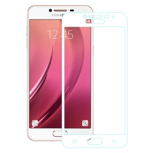 For Samsung Galaxy C5 Full Coverage Tempered Glass Screen Protector Guard - White