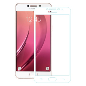 For Samsung Galaxy C7 Full Coverage Tempered Glass Screen Protector Film - White