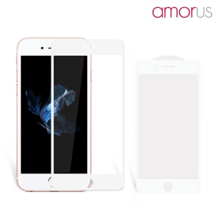 AMORUS 3D Curved Full Coverage for iPhone 7 Plus Tempered Glass Screen Protector Guard 0.3mm - White
