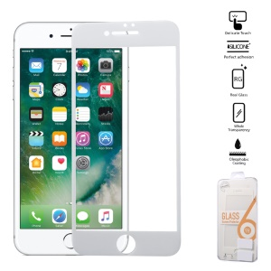 0.25mm Silk Print Full Cover Tempered Glass Screen Protector for iPhone 8 Plus/7 Plus (Arc Edge) - White