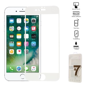 Full Covering Tempered Glass Screen Guard Film for iPhone 7 Arc Edge - White