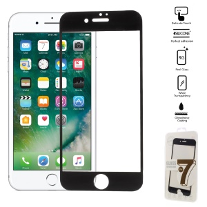 Full Size Tempered Glass Screen Protector Film for iPhone 7 Plus Arc Edge - Black