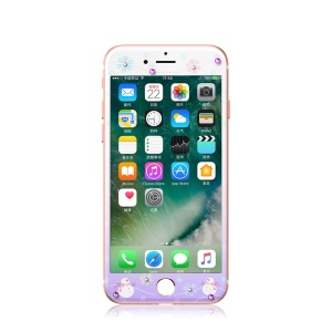 KAVARO Watery Series for iPhone 7 4.7 Authorized Swarovski Crystal Tempered Glass Full Screen Guard Film - Snow Man