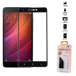 For Xiaomi Redmi Note 4X Full Screen Cover Mobile Tempered Glass Protector Film Silk Print - Black