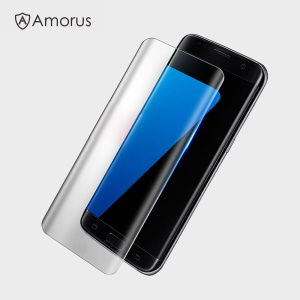 AMORUS for Samsung Galaxy S8 Plus Silk Printing Tempered Glass LCD Screen Cover Full Cover - Transparent