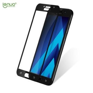 LENUO CF Full Size Carbon Fiber Tempered Glass Screen Protector for Samsung Galaxy A3 (2017) A320 - Black
