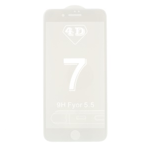 4D Full Cover Tempered Glass Screen Shiled Film para iPhone 7 Plus 5.5 polegadas - branco