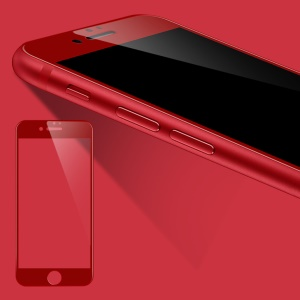 WUW-G08 4D Arc Edge Anti-fingerprint Ultra Clear Tempered Glass Protector Film for iPhone 7 - Red