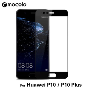 MOCOLO para Huawei P10 Impressão de seda Arco Edge Full Size Tempered Glass Screen Protector - negro