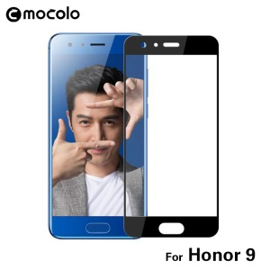 MOCOLO Silk Print Arc Edge Complete Coverage Tempered Glass Screen Protector for Huawei Honor 9 - Black