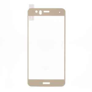 Silk Printing Full Coverage Tempered Glass Screen Protector Film (Arc Edge) for Huawei P10 Lite - Gold