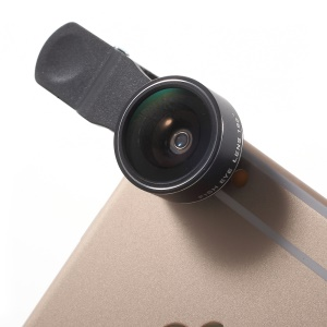 PICKOGEN HE 061 Universal Clip 198 Degree Fisheye Lens for iPhone Samsung - Black