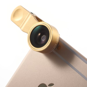 PICKOGEN HE 061 Universal Clip 198 Degree Fisheye Lens for iPhone Samsung - Gold