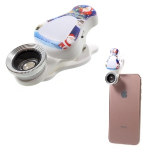 WQ-09 3 in 1 Cell Phone Lens with 2 Adjustable Brightness Fill Light, 15X Macro and 0.63X Wide Angle Lens - Santa Claus