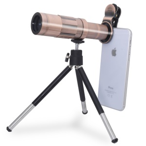 20X Zoom Telescope Lens for iPhone Samsung Huawei with Tripod - Rose Gold Color