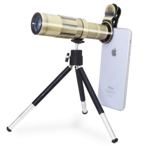 20X Zoom Telescope Camera Lens for iPhone Samsung Huawei with Tripod - Gold Color