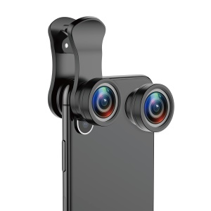 BASEUS Clip-on 180° Fisheye + 120° Wide Angle + 15X Macro Lens for Smartphones - Black