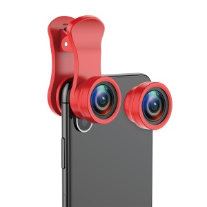BASEUS 3-in-1 180° Fisheye + 120° Wide Angle + 15X Macro Lens Clip for Smartphones - Red