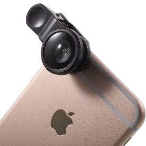 Universal Clip 10X Macro Lens + 0.65X Wide-angle Lens + 180 Degree Fisheye Lens Kit for iPhone Samsung - Black