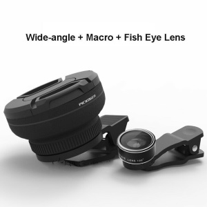 PICKOGEN Fisheye + 0.5X 4K Wide Angle + Macro Camera Lens Kit for iPhone/Samsung/Huawei Smartphones - Black