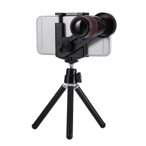 Universal 12X Optical Telescope Camera Lens with Tripod for iPhone Samsung - Black