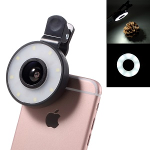 PICKOGEN HE-077-UV Fisheye + Macro + Wide Angle Camera Lens with LED for iPhone Samsung - Black