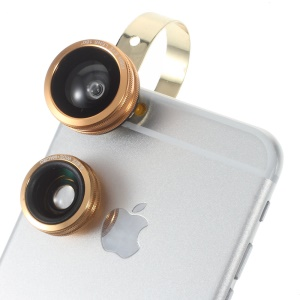 Macro + Wide Angle + Fisheye O Stainless Ring Camera Lens for iPhone Samsung - Gold