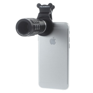 Universal 12X Telephoto Camera Lens + Clamp Clip for iPhone Samsung Sony LG - Black