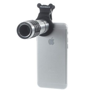 Universal 12X Telephoto Camera Lens + Clamp Clip for iPhone Samsung Sony LG - Silver