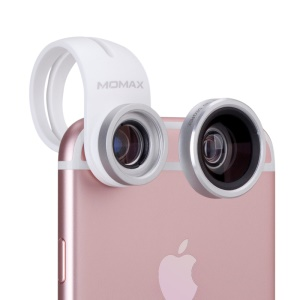 MOMAX X-Lens 2-In-1 Clip-on 120-Degree Wide Angle + 15X Macro Lens for Smartphone Tablet - White