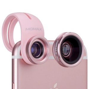 MOMAX X-Lens 2-In-1 Clip-on 120-Degree Wide Angle + 15X Macro Lens for Smartphone Tablet - Rose Gold