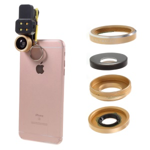 198° Fisheye Lens + 0.4X Wide Angle Lens + 15X Macro Lens + Filling Light 4-in-1 Kit for Smartphone