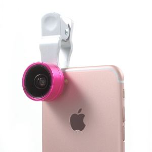 PICKOGEN Universal Clip-on 2-in-1 0.36X Super Wide Angle + 15X Macro Lens Lens Kits (HE-036) - Rose