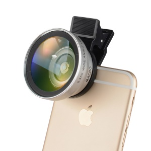 2-in-1 Professional HD Camera Lens Kit Clip-on Macro Lens & Wide Angle Lens for iPhone 7 Etc. - Silver